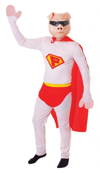 Adults Super Pig + Mask Costume Superhero Fancy Dress